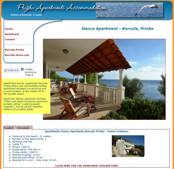 Aparmani Danca Prižba, otok Korčula