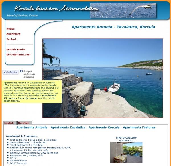Apartmani Antonia Zavalatica Korčula