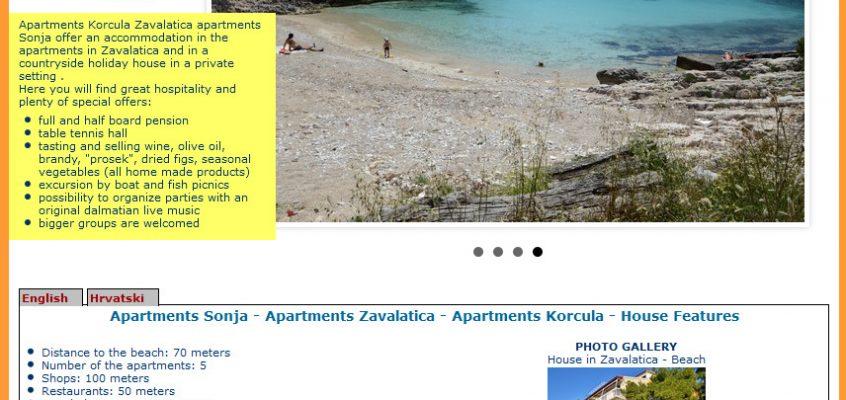 Nova web stranica – Apartmani Sonja u Zavalatici