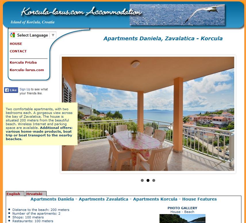 Apartmani Dainela Zavalatica izrada web stranica