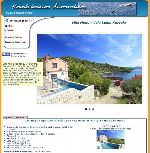 Villa Hope Vela Luka izrada web stranica