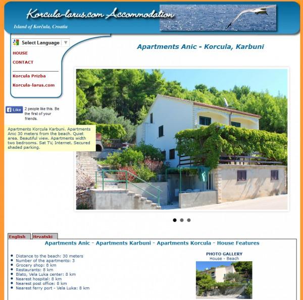 Izrada web stranica za apartmane Anić - Karbuni Korčula