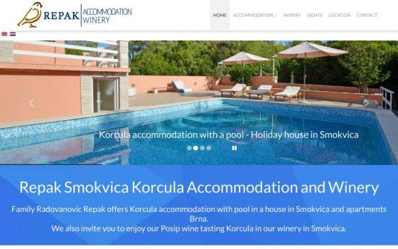 Vinarija Repak Smokvica, Kuća s bazenom i apartmani Brna